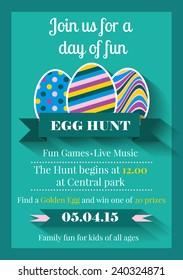 Vector illustration of Easter invitation card. Egg Hunt holiday