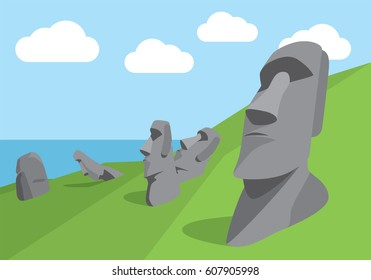 Vector Illustration of Easter Island