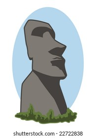 vector illustration of an Easter Island stone head