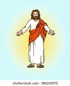 Vector illustration of Easter Jesus Christ with arm wide open. EPS 10, outline in separated layer