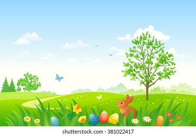 Vector illustration of an Easter nature scene with a bunny