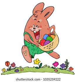 Vector illustration, Easter rabbit with eggs.
