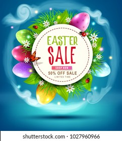 Vector illustration. Easter sale banner, advertising round card with colorful eggs and with green grass against the background of  blue sky. Design element, template discount posters
