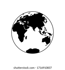 Vector illustration of Eastern Hemisphere of planet Earth, silhouettes of continents. Eurasia, Africa, Australia, Antarctica