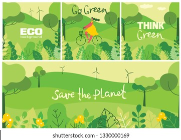 Vector illustration ECO background of Concept of green eco energy and quote Save the planet. Landscape, forest, hills and trees with wind turbines in flat geometric style