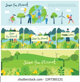 Vector illustration ECO background of Concept of green eco energy and quote Save the planet. Landscape, forest,people activists with eco banners in flat geometric style.
