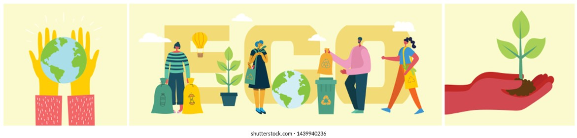 Vector illustration ECO background of Concept of green eco energy and quote Save the planet and Waste recycle.