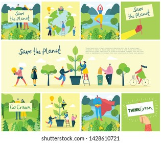 Vector illustration ECO backgrounds of Concept of green eco energy and quote Save the planet. Landscape, forest, hills and trees with wind turbines in flat geometric style