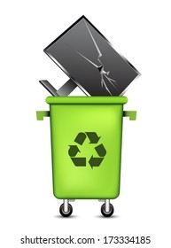 Vector illustration of Eco concept with trashcan and monitor.