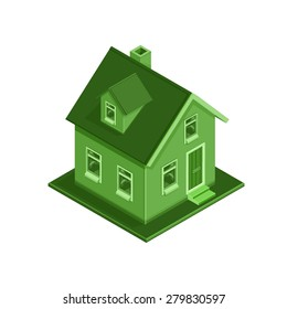 A vector illustration of an ECO friendly modern house concept. Isometric Eco Friendly House illustration Icon. Environmentally friendly home colored in green.