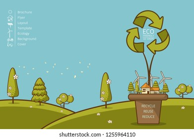 Vector illustration of eco home with of wind turbine, bike , solar cell ,house, and trees. Background for save earth day.  Recycle sign for ecology, nature protection and pollution concept.