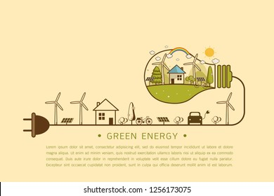 Vector illustration of eco home with of wind turbine, bike , solar cell and trees. Background for save earth day. Environmental, Recycle sign for ecology, nature protection and pollution concept.