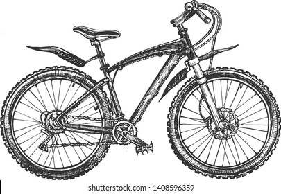 Vector illustration of ecological extreme transport set. Sport mountain hardtail or full-suspension bike, rover or bicycle. Vintage hand drawn style.