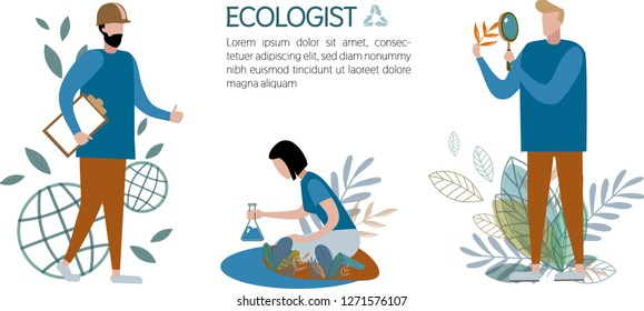 Vector illustration ecologists study water, plants and planet on an isolated white background. Set of three images