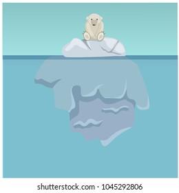 Vector illustration of ecology, bear, polar bear, iceberg, solar energy, earth day, iceberg underwater, sea, ocean, ecology, melting, sky, earth day. Background flat design. Style