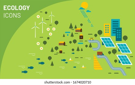 Vector illustration of ecology icons. Infographic concept for logo, banner, publishing, web, graphic design. Organic and natural emblem. Recycling ecological design. Alternative energy