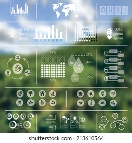 Vector illustration of ecology infographics in Minimalistic style concerning to ecology, pollution, energy and sustainable development themes