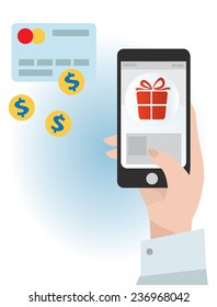 Vector illustration of an E-commerce on a phone
