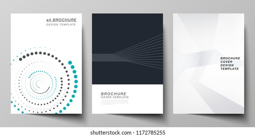 The vector illustration of the editable layout of A4 format cover mockups design templates with geometric background made from dots, circles for brochure, magazine, flyer, booklet, annual report.