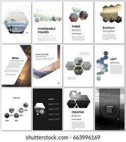 The vector illustration of the editable layout of A4 format covers design templates for brochure, magazine, flyer, booklet, report. Abstract polygonal modern style with hexagons.