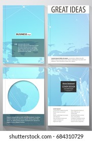 The vector illustration of editable layout of four A4 format covers with the circle design templates for brochure, magazine, flyer. Polygonal texture. Global connections, futuristic geometric concept.