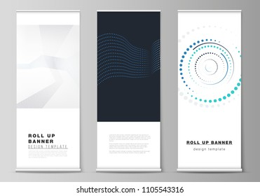 The vector illustration of the editable layout of roll up banner stands, vertical flyers, flags design business templates with simple geometric background made from dots, circles.