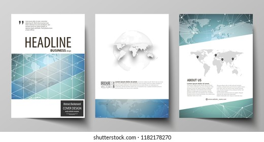 The vector illustration of the editable layout of three A4 format modern covers design templates for brochure, magazine, flyer, booklet. Chemistry pattern, connecting lines and dots. Medical concept.