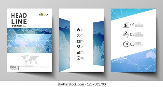 The vector illustration of editable layout of three A4 format modern covers design templates for brochure, magazine, flyer, booklet. World map on blue, geometric technology design, polygonal texture.
