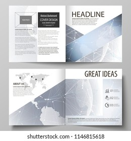 The vector illustration of the editable layout of two covers templates for square design bi fold brochure, magazine, flyer, booklet. Abstract futuristic network shapes. High tech background.