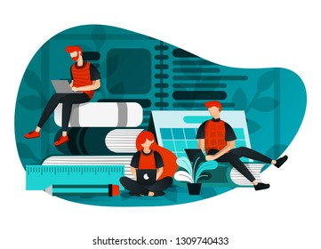 vector illustration of education 4.0, learning industry revolution, study at internet. group of people studying using laptop, latest learning technology, cartoon flat character. flat cartoon character