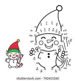 "Vector illustration: education game for kids ""connect the numbers and color the Snowman"" isolated on white background. For your Christmas holiday pastime."