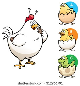 Vector Illustration of Education game make the right choice Hen to chick