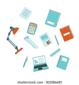 Vector illustration of education and report tool set on white isolated background