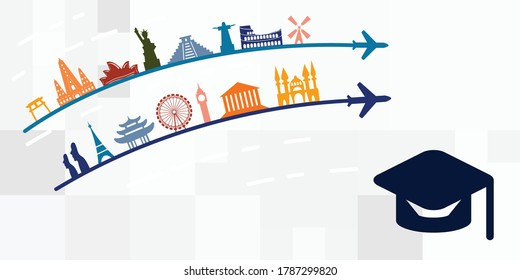 vector illustration of education and travelling for studying abroad visuals