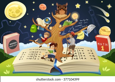 A vector illustration of education tree concept
