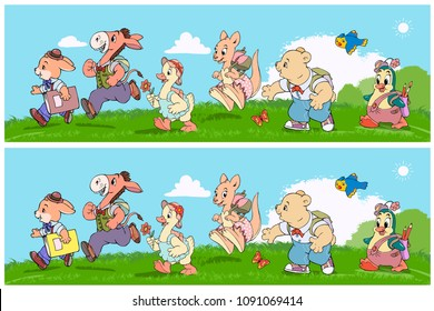 Vector illustration, educational game, find the 10 differences between images, card concept.