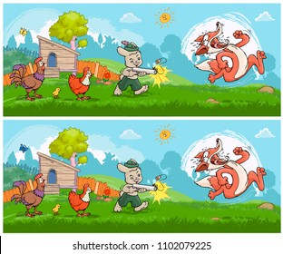 Vector illustration, educational game, find the ten differences between images, card concept.