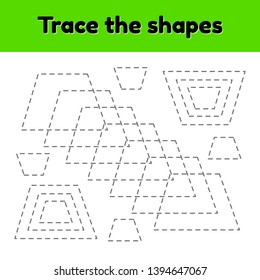 Vector illustration. Educational tracing worksheet for kids kindergarten, preschool and school age. Trace the geometric shape.  Dashed lines. Trapezoid.
