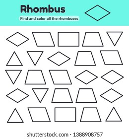 Vector illustration. Educational worksheet for kids kindergarten, preschool and school age. Geometric shapes. Rhombus, parallelogram, triangle, rectangle, trapezoid. Find and color.