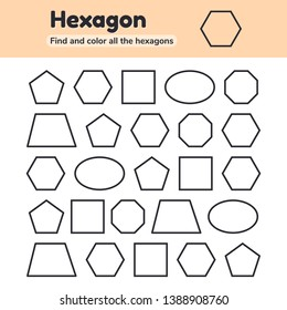Vector illustration. Educational worksheet for kids kindergarten, preschool and school age. Geometric shapes. Pentagon, octagon, hexagon, trapezoid, oval, square. Find and color.