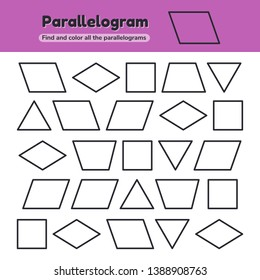 Vector illustration. Educational worksheet for kids kindergarten, preschool and school age. Geometric shapes. Rhombus, parallelogram, triangle, square, trapezoid. Find and color.