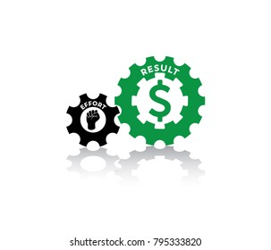 vector illustration of effort and result of imbalance work and salary in two gear. with less effort get big result