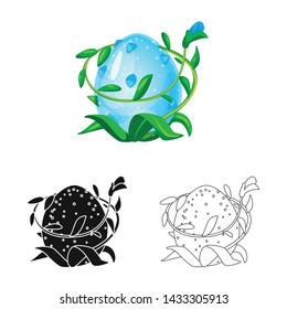 Vector illustration of egg and dragon logo. Collection of egg and leaves vector icon for stock.