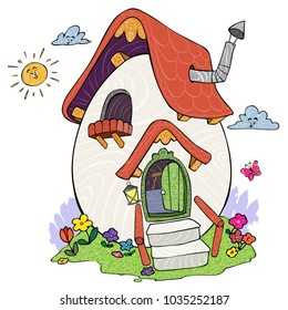 Vector illustration, egg house, card concept.