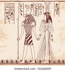 Vector illustration of Egyptian national drawing. Goddess Isis and Queen Nefertari. Brown drawing on a beige background with the effect of aging.