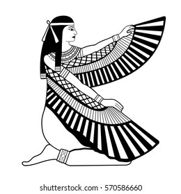 Vector illustration of Egyptian national drawing. Goddess Isis.