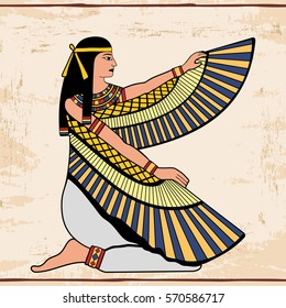Vector illustration of Egyptian national drawing. Goddess Isis. Color drawing on a beige background with the effect of aging.