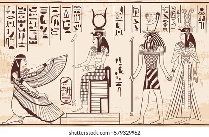 Vector illustration of Egyptian national drawing. Image of gods ornament hieroglyphs.