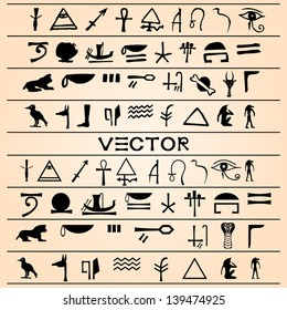 The vector illustration of Egyptian ornaments and hieroglyphs