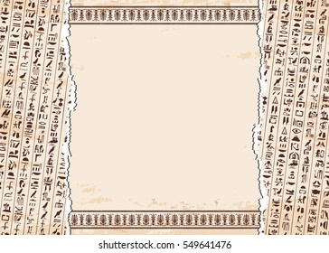 Vector illustration of Egyptian ornaments and hieroglyphs on a beige background with the effect of aging.